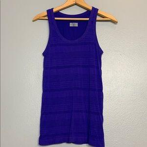ATHLETA | back to basics stripe purple tank S